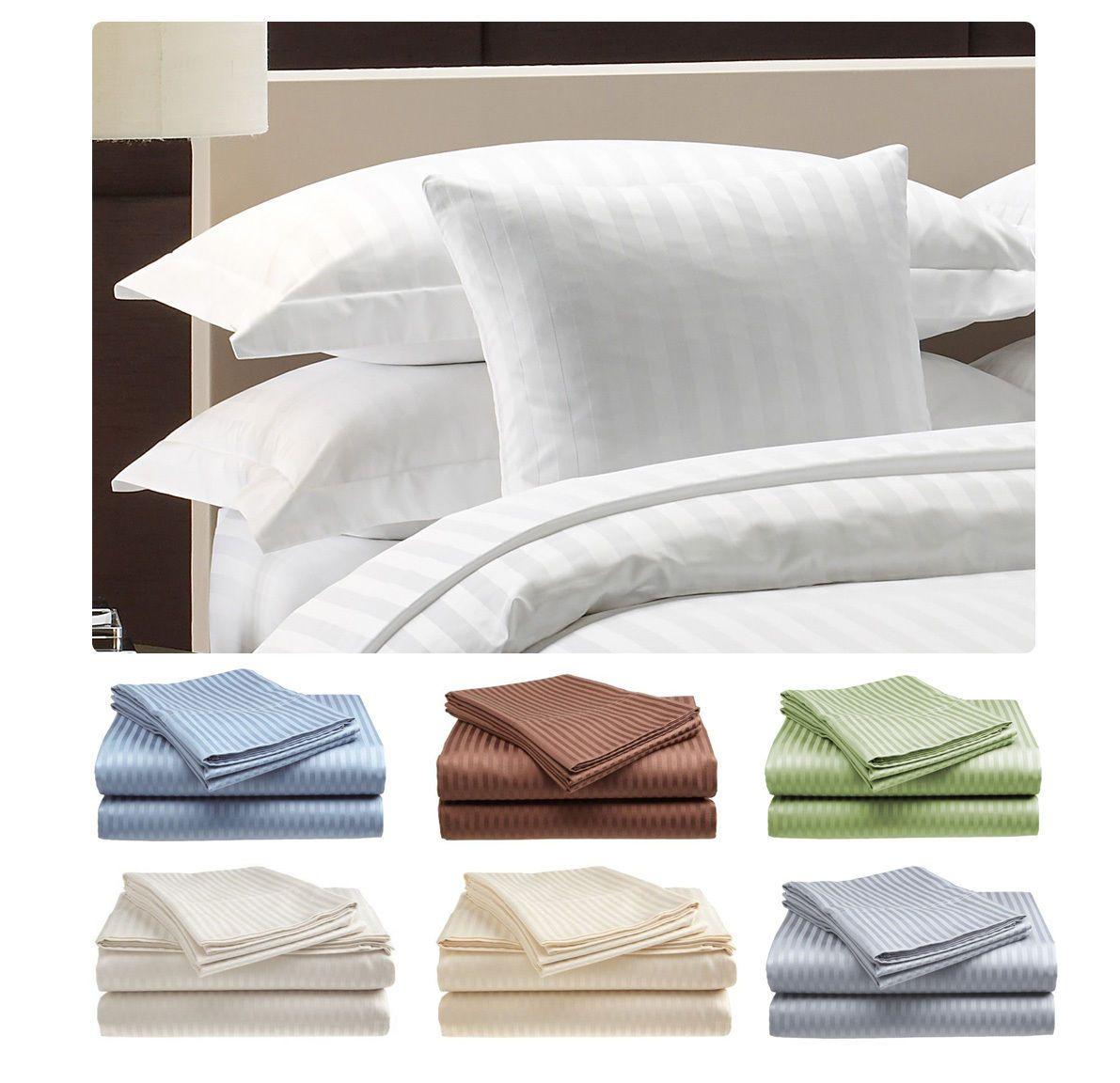 Deluxe Hotel 300 Thread Count 100 Cotton Sateen Sheet Set Dobby Stripe Ebay Luxury Sheet Sets Striped Bed Sheets Designer Bed Sheets 300 thread count cotton sheets