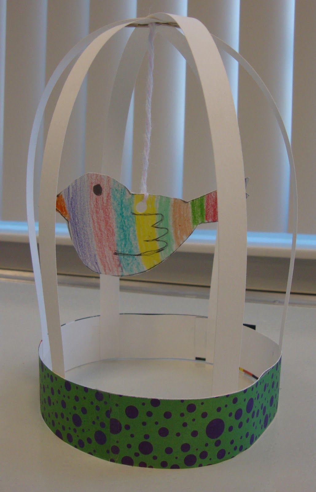 Art Paper Scissors Glue Bird Cage Sculptures