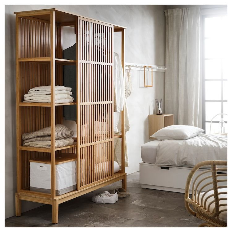 Nordkisa Open Wardrobe With Sliding Door Bamboo Width 47 1 4 Height 73 1 4 Find It Here Ikea In 2020 Sliding Wardrobe Doors Open Wardrobe Scandinavian Furniture Design