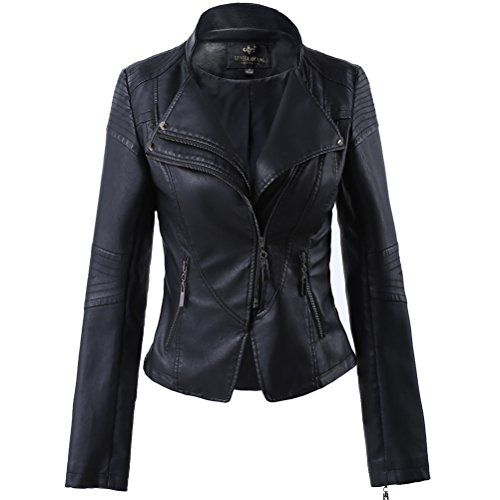 8cede92d50c8  39.98 - LingLuoFang LLF Women s Faux Leather Stand-up Collar Moto Biker  Short Jacket