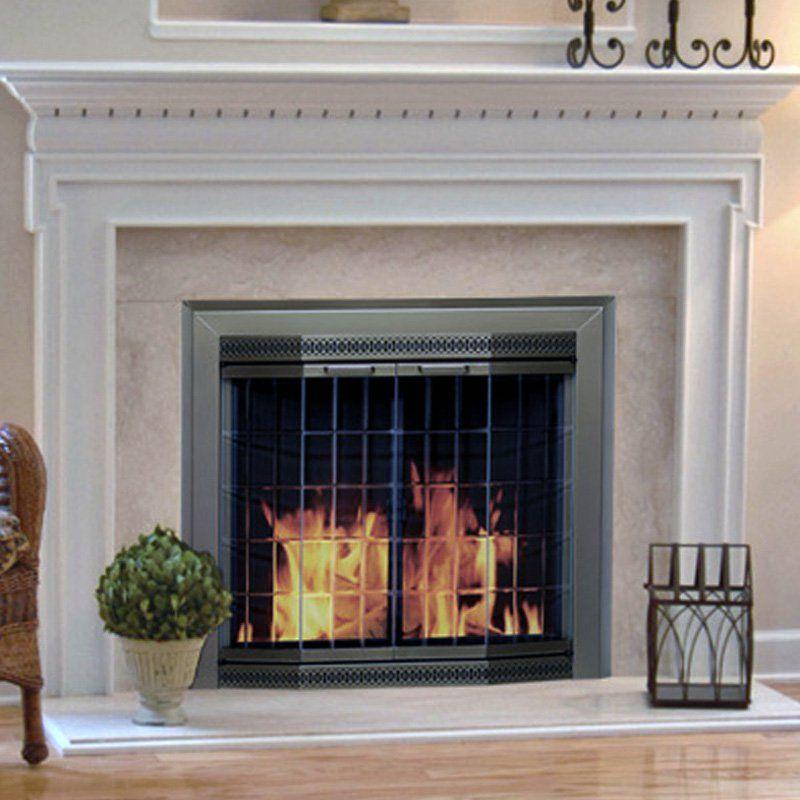 pleasant hearth grandior bay fireplace screen and bi fold track free rh pinterest com  custom glass door fireplace screens