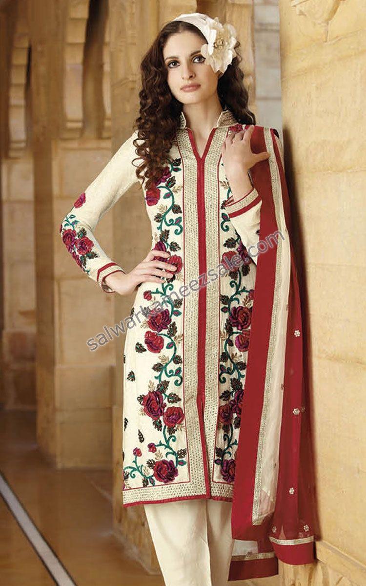 af5bedba43 Pakistani Designer Salwar Kameez With Intricate Embroidery & Matching  Dupatta -FLO7189A