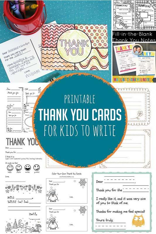 Printable Thank You Cards for Kids to Write | Kids fun | Pinterest ...