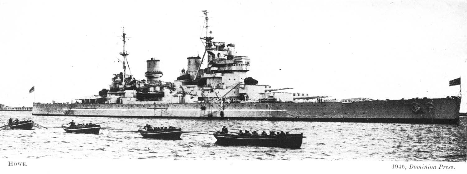 14 in King George V class battleship HMS Howe, 1946.  She entered service in August 1942 (the last of the class, delayed due to resource constraints), seeing action escorting Arctic convoys, during the Sicily campaign and in the Far East.
