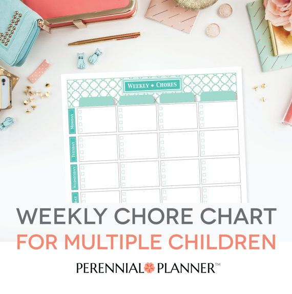Chore Chart Multiple Children Printable - EDITABLE PDF, Housework - editable checklist template