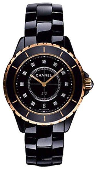 check out 61d7c 2ef13 Chanel J12 H2543 Diamond Black Ceramic Rose Gold Quartz 33mm ...