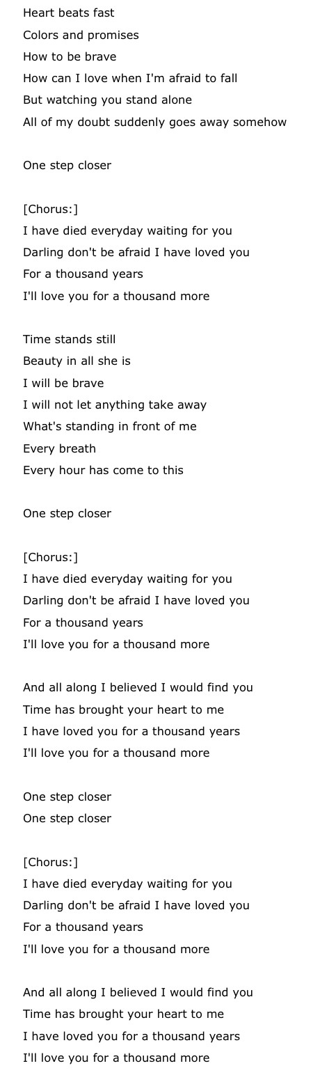 A Thousand Years by Christina Perri lyrics | About me | Pinterest ...