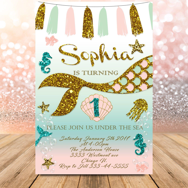 Mermaid birthday invitation, little mermaid theme party, Under the ...
