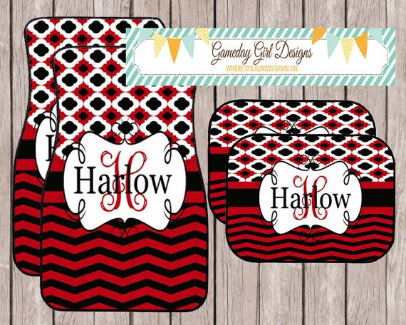 chevron car floor mats. Chevron Car Accessory Red And Black Monogrammed Mats Personalized By Etsy Store GamedayGirlDesigns. Shop Floor