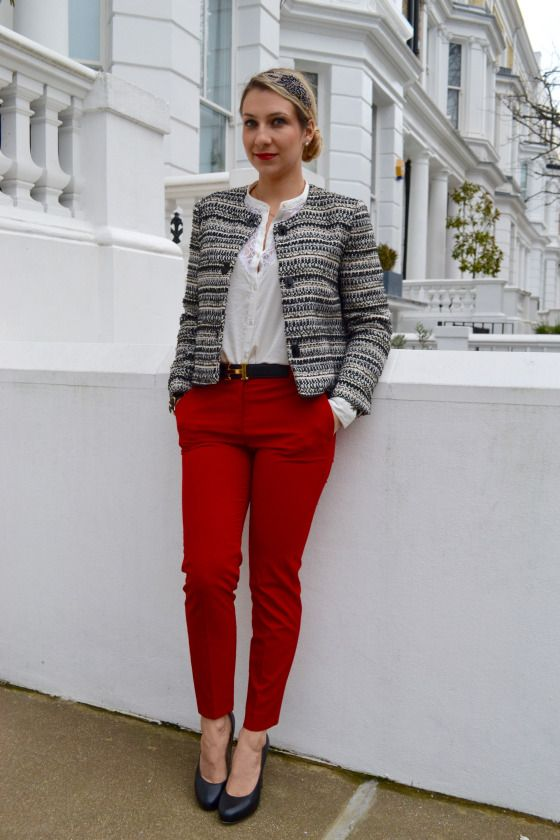 Red pants outfit, office outfit, chanel outfit, pantalon rouge, tenue  professionnelle,