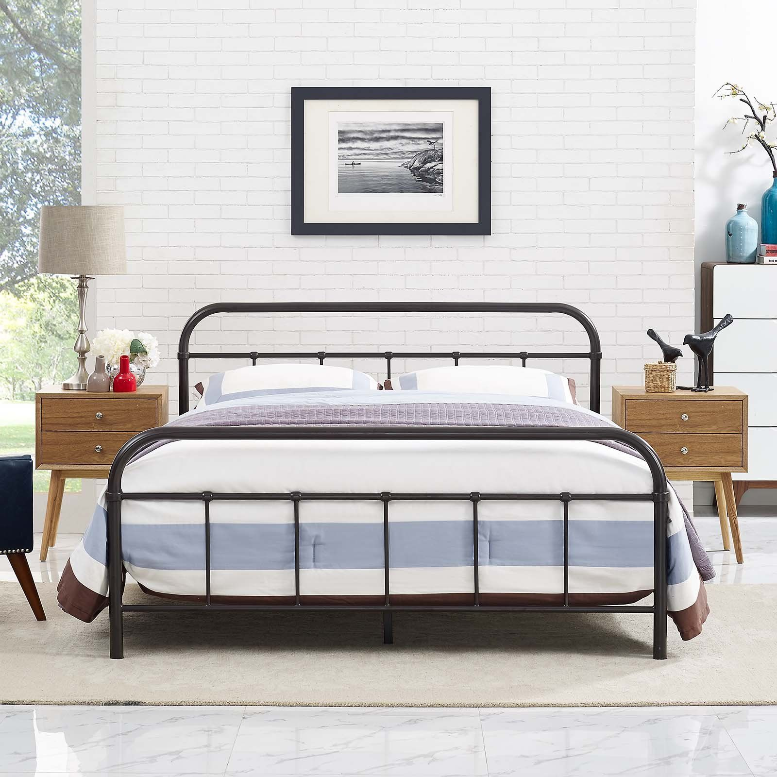 Modway Furniture Modern Maisie Full Stainless Steel Bed Frame