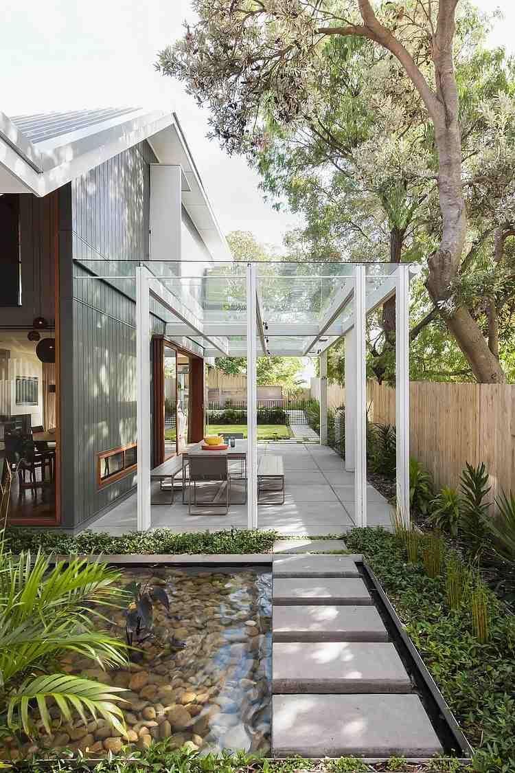 Wunderschöne Gartengestaltung Mit Überdachung Aus Glas
