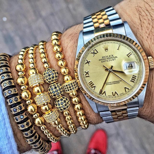 Rolex paired with @shopzenger 18kt Gold Plated Macrame Bracelets.  Get them at www.shopzenger.com  Free Worldwide Shipping from New York.  Follow @shopzenger