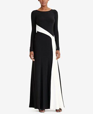 5e89cbed032be Lauren Ralph Lauren Colorblocked Jersey Gown - Dresses - Women - Macy's  Formal Evening Dresses,
