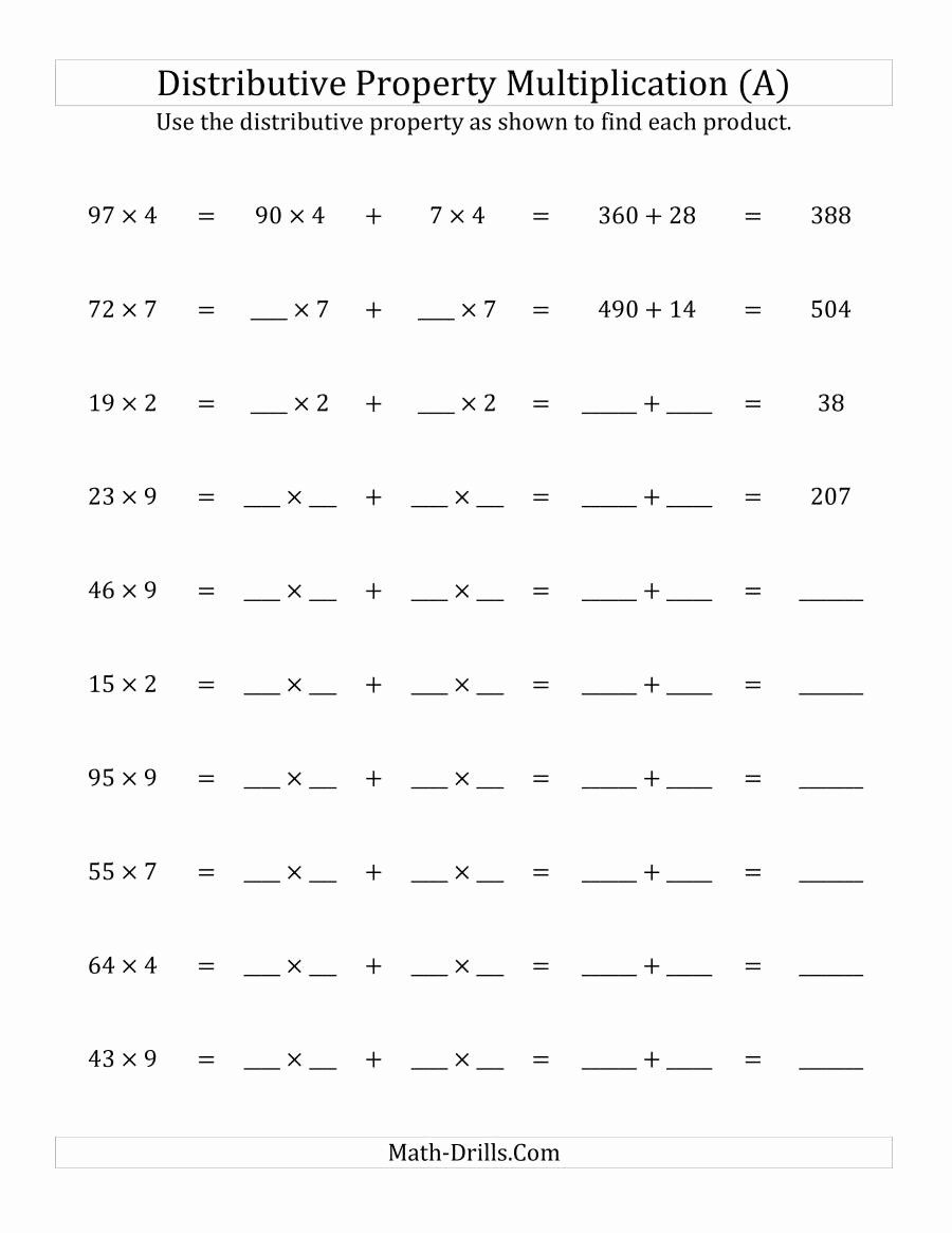 Basic Distributive Property Worksheet Awesome Multiply 2 Digit By 1 Digit Numbers Using The Distributive Property Multiplication Math Multiplication Worksheets