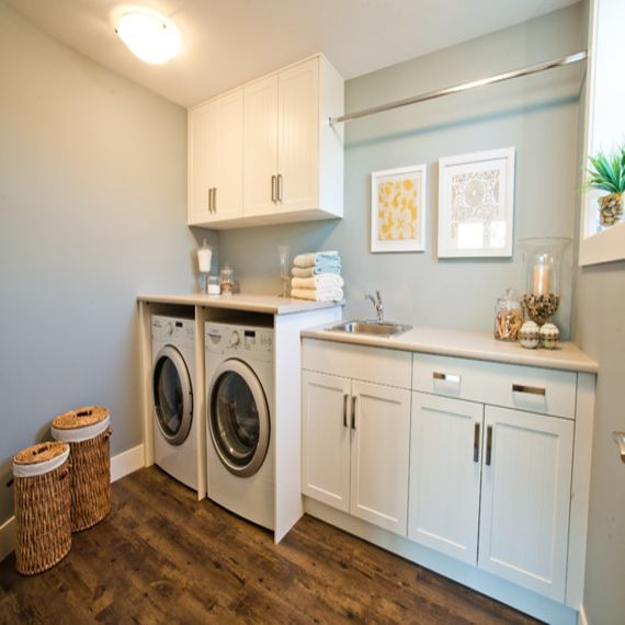 Laundry Room Cabinets With Hanging Rod In 2020 Laundry Room