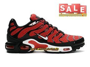 low priced 54364 ae8fc NIKE AIR MAX TN TUNED REQUIN TXT (KPU) - CHAUSSURES NIKE PAS CHER POUR HOMME  Rouge sportif Noir Blanc 604133-101