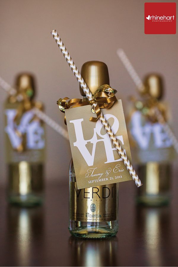 Mini champagne bottles with chevron straws cute for for Mini wine bottle wedding favors