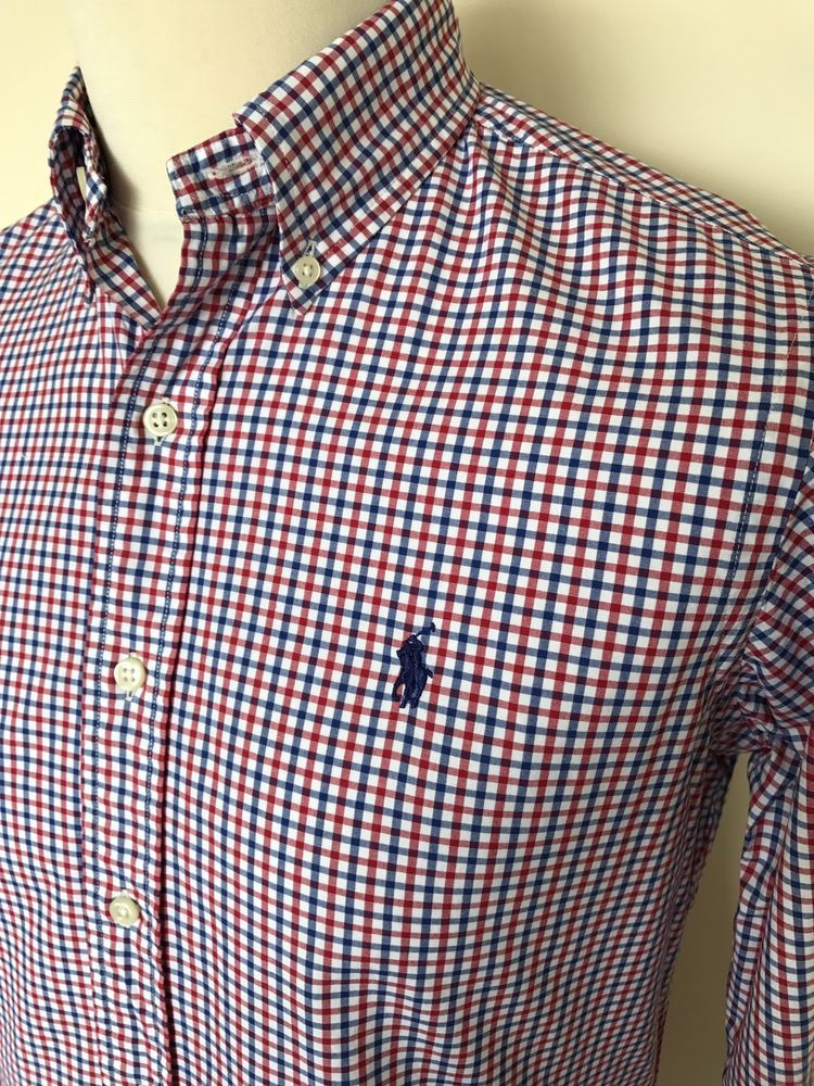28578f739 Mens RALPH LAUREN Shirt Small Custom Fit Red White Blue Gingham Checked  Cotton