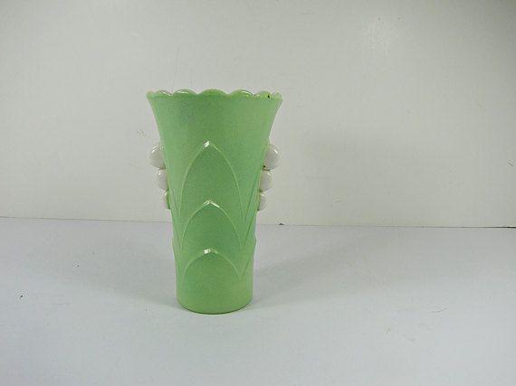 Vintage Jadeite Candlewick Vase Jadite Green Flower Anchor Hocking