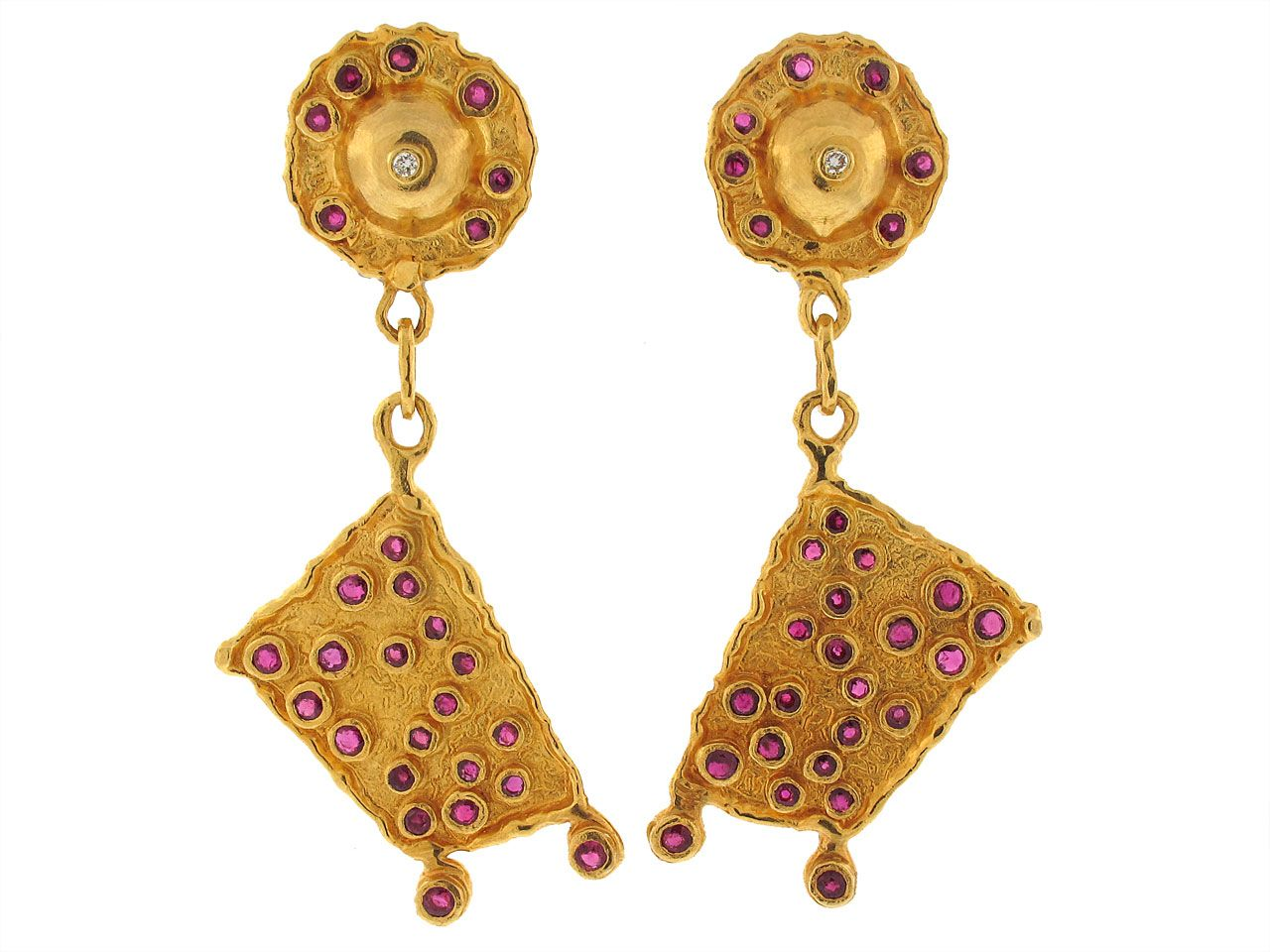 Jean Mahie Ruby Earrings in 22K from Beladora.com Antique and Estate Jewelry