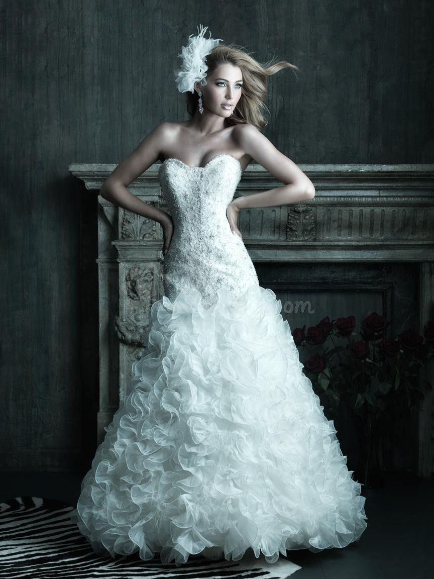 Delicate A-Line Sweetheart Chapel Trian Ruffles Wedding Dress with ...