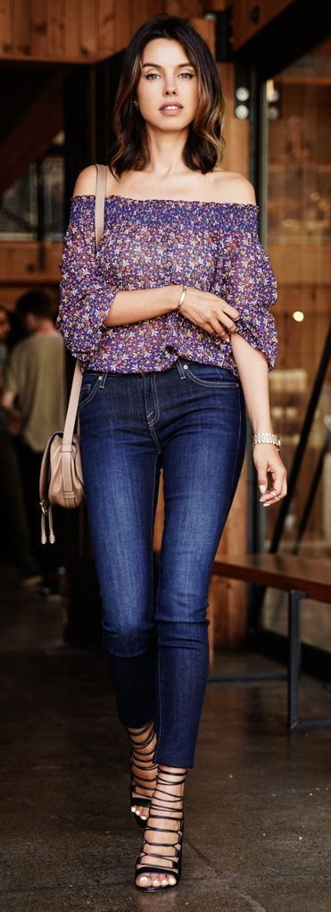Off shoulder floral shirt,skinny jeans and Aquazzura, Amazon lace-up Sandal heels. Beauty on High Heels #Fashion