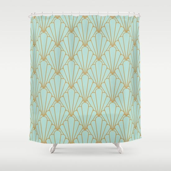 Art Deco Series Mint Green Gold Shower Curtain By Rosenova