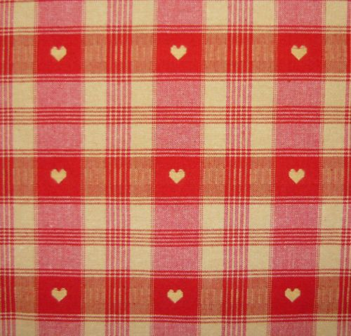 Cervin Woven Check Red Natural Heart Curtains Fabric Material Per~m