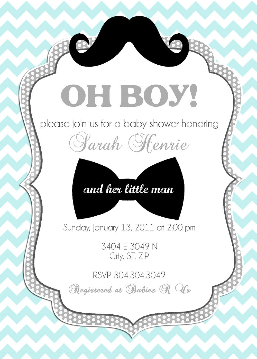 Little Man- Custom Baby Shower Invitation, Bridal Shower Invitation ...