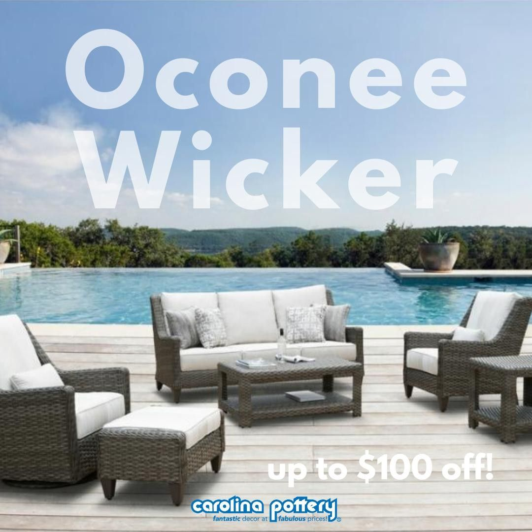 Our Oconee Wicker set is up to $100 off! ⁣ 𝗨𝘀𝗲 𝗖𝗼𝗱𝗲 𝗢𝗖𝗢𝗡𝗘𝗘𝟱𝟬 𝗳𝗼𝗿 $𝟱𝟬 𝗼𝗳𝗳 $𝟱𝟬𝟬 𝗮𝗻𝗱 ⁣ 𝗢𝗖𝗢𝗡𝗘𝗘𝟭𝟬𝟬 𝗳𝗼𝗿 $𝟭𝟬𝟬 𝗼𝗳𝗳 $𝟭𝟬𝟬𝟬! ⁣ ⁣ 𝘊𝘭𝘪𝘤𝘬 𝘭𝘪𝘯𝘬 𝘪𝘯 𝘵𝘩𝘦 𝘣𝘪𝘰 𝘵𝘰 𝘴𝘩𝘰𝘱!