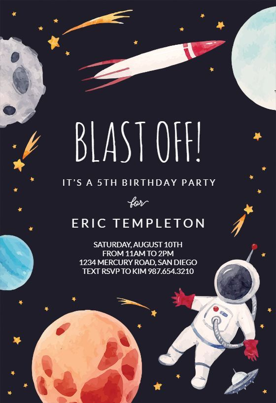 Outer Space - Birthday Invitation Template (Free #outerspaceparty