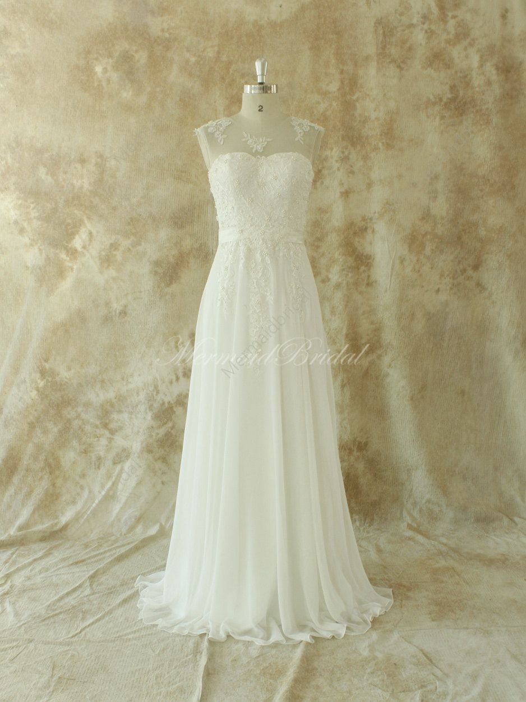 Ivory chiffon lace wedding dress | Pinterest | Elfenbein ...