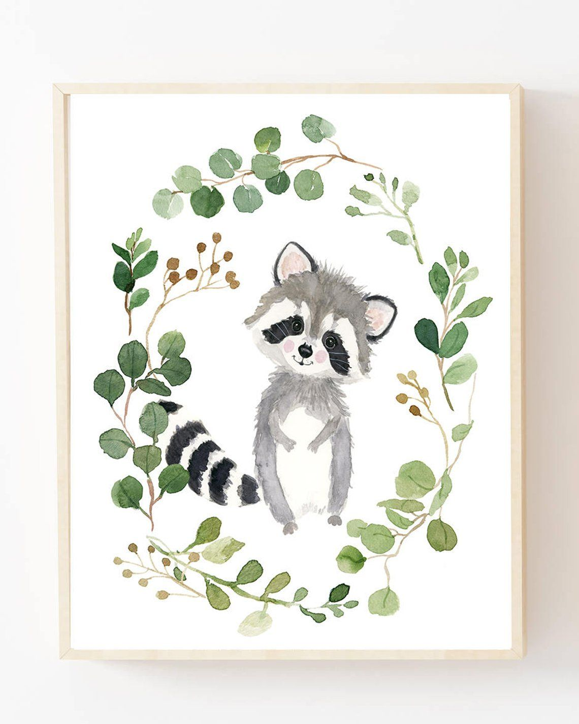 Photo of Woodland nursery prints, raccoon, raccoon painting, nursery art, baby shower, illustration, baby animal prints,gender neutral nursery