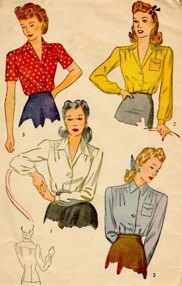 1945 ladies' blouse pattern 1940s