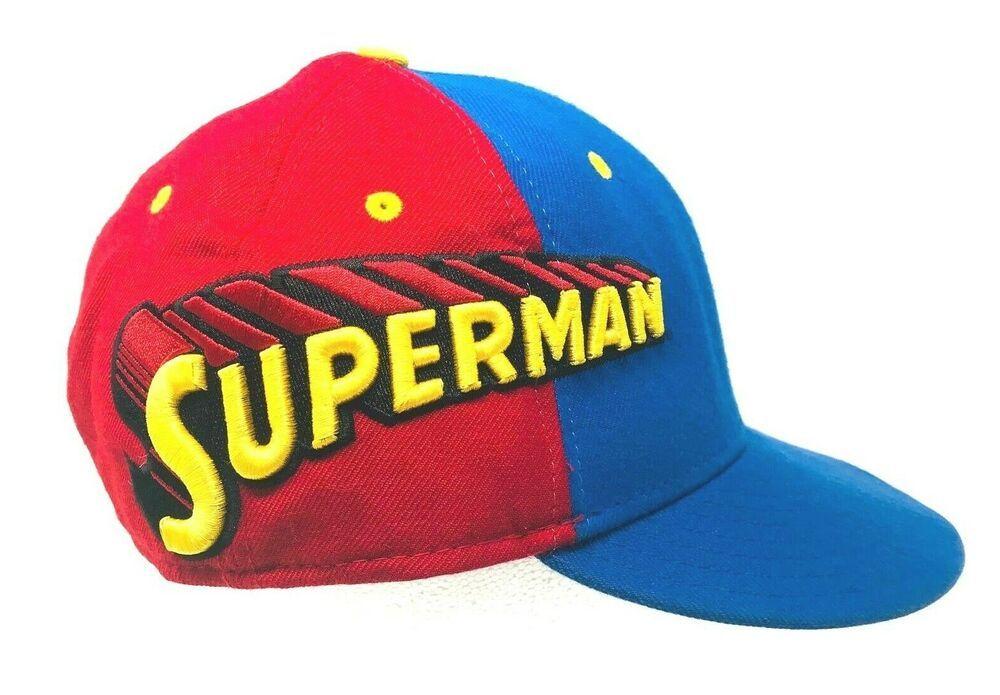 bd7a4b60 Superman DC Comics Wordmark blue red yellow NEW ERA 59Fifty Fitted Hat Cap  #59Fifty #BaseballCap
