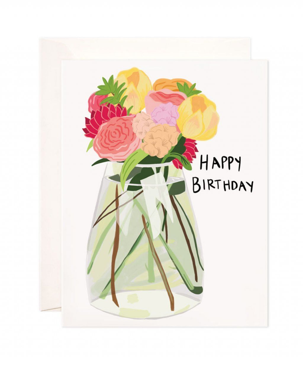 Happy Birthday Flower Vase Card Products Pinterest Flower