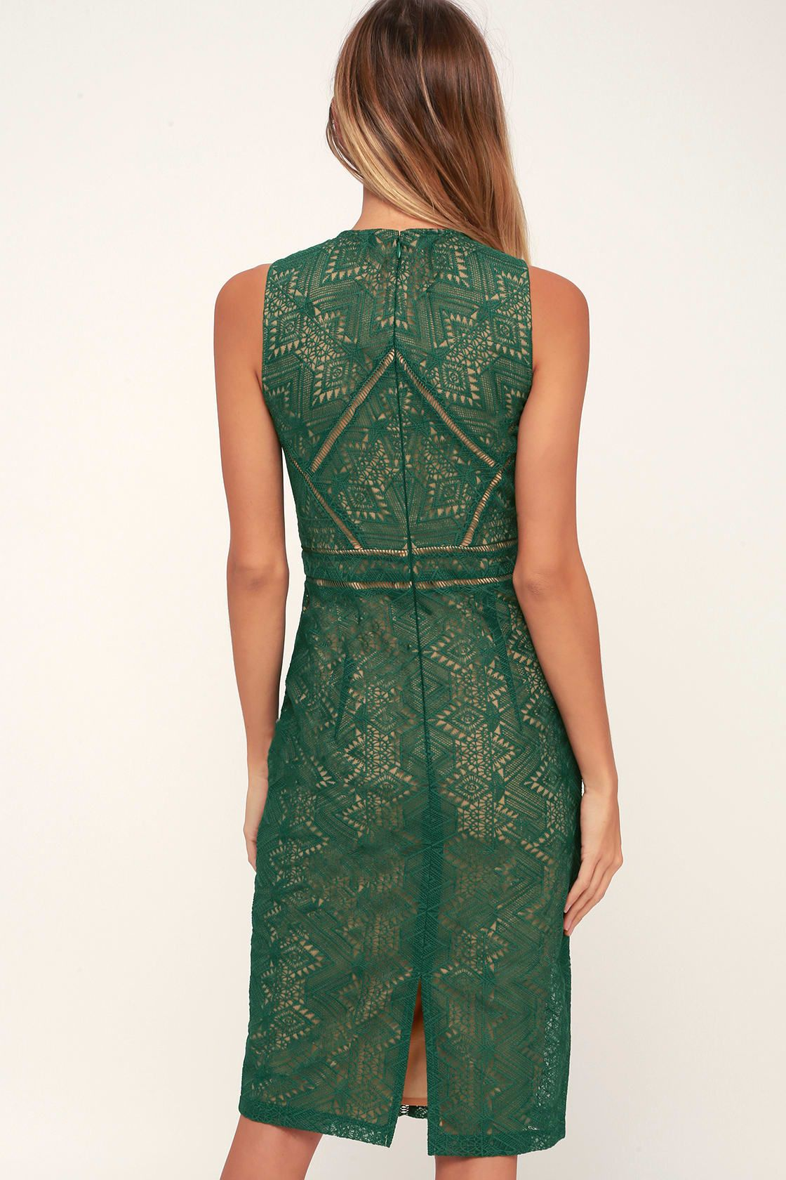Lulus Eve Dark Green Lace Sheath Midi Dress Size Medium