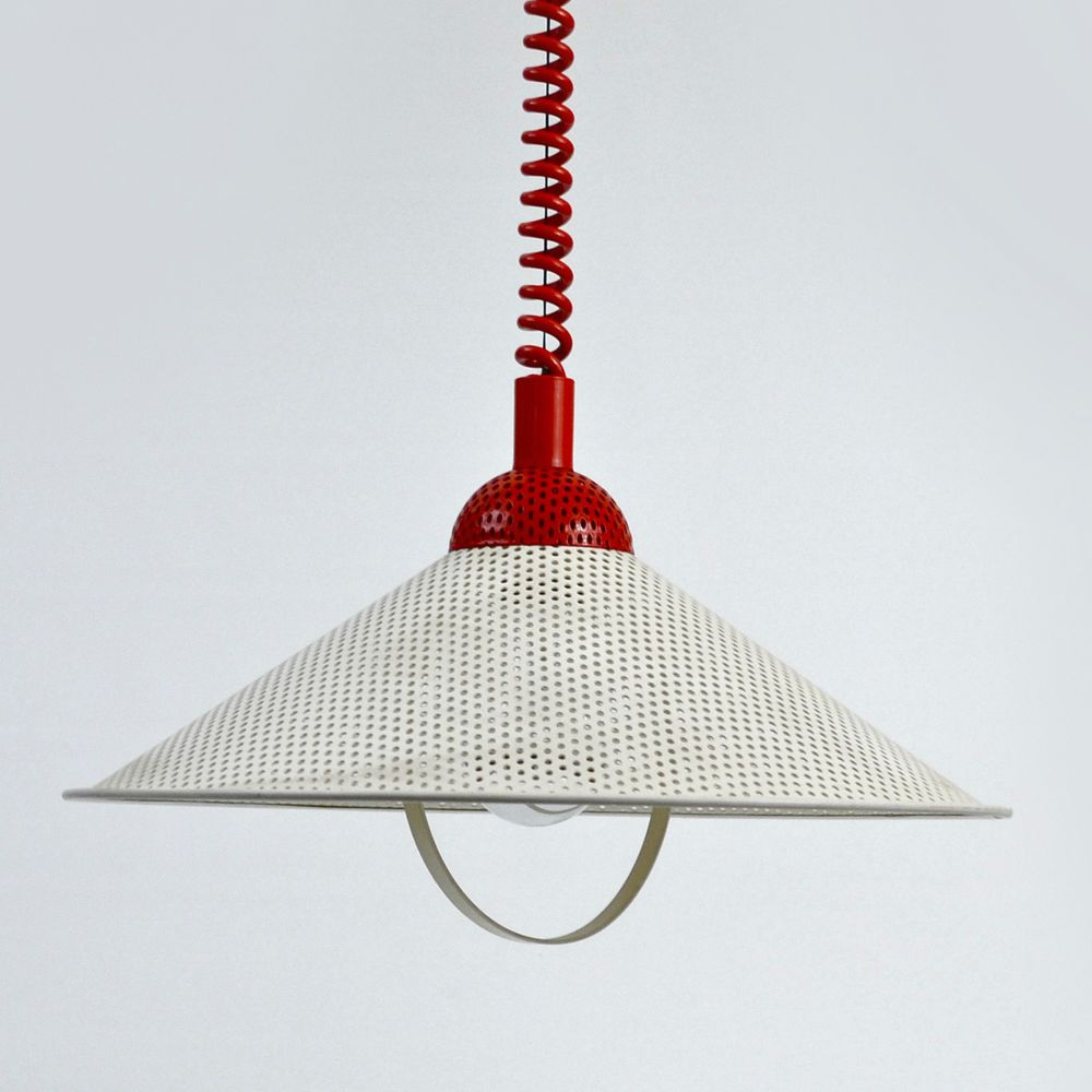 Rolly Danish Modern Retractable Pendant Light Lamp Eames Mcm