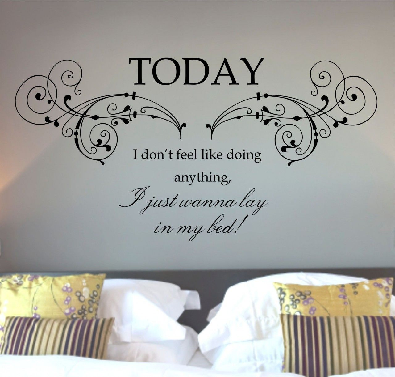 Wall decals mars lazy song quote wall art sticker for Bedroom vinyl quotes