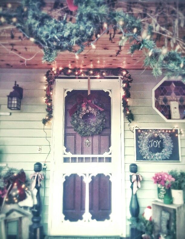 My porch at Christmas, a Vintage holiday, Pink Christmas, Chalkboard Art...photo by Julie Cruzan