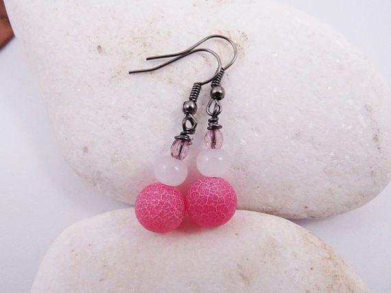 Pink Frosted Agate Earrings  Glass Beads  Light Purple