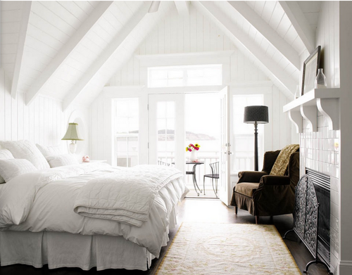 Southern Charm Attic Ceiling Fireplace Bedroom Warm Bright White Light White Bedroom Design All White Room All White Bedroom