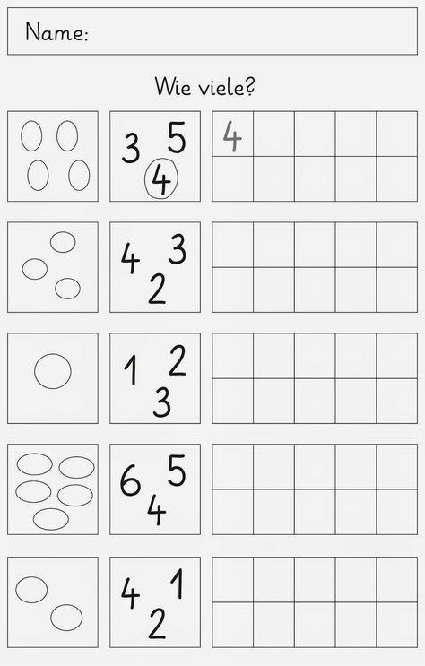 Mengen und Zahlen bis 6 | Pinterest | Zahlen, Mathe und Vorschule