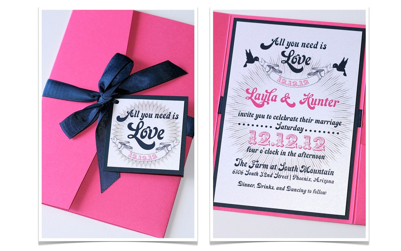 Layla Pocket Fold Wedding Invitation Sample Hot Pink Navy Blue And White