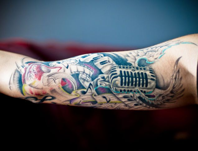 Multiple Tattoo Sleeve: Music Sleeve Tattoo With Multiple Designs