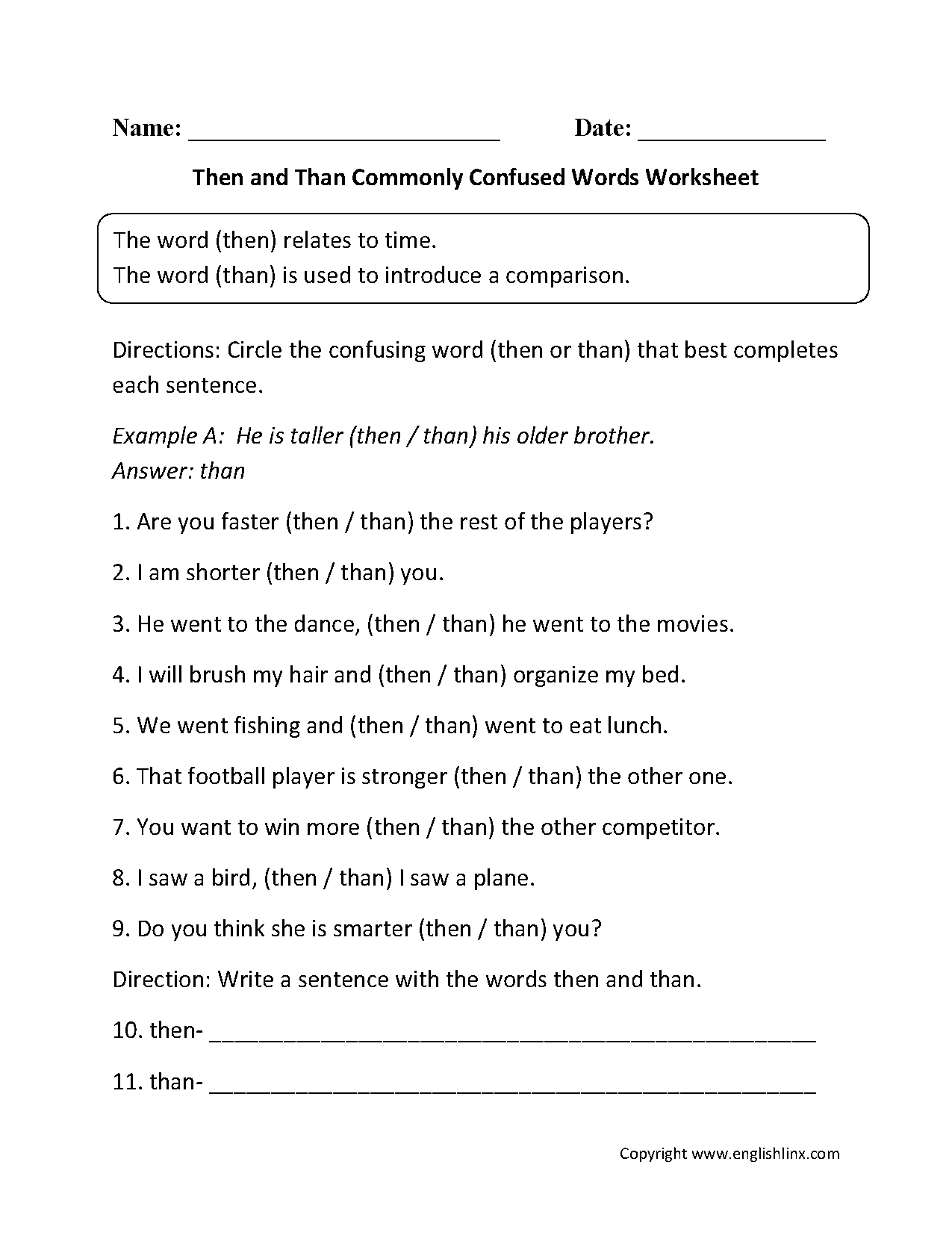 Then Vs Than Commonly Confused Words Worksheets Homeschooling
