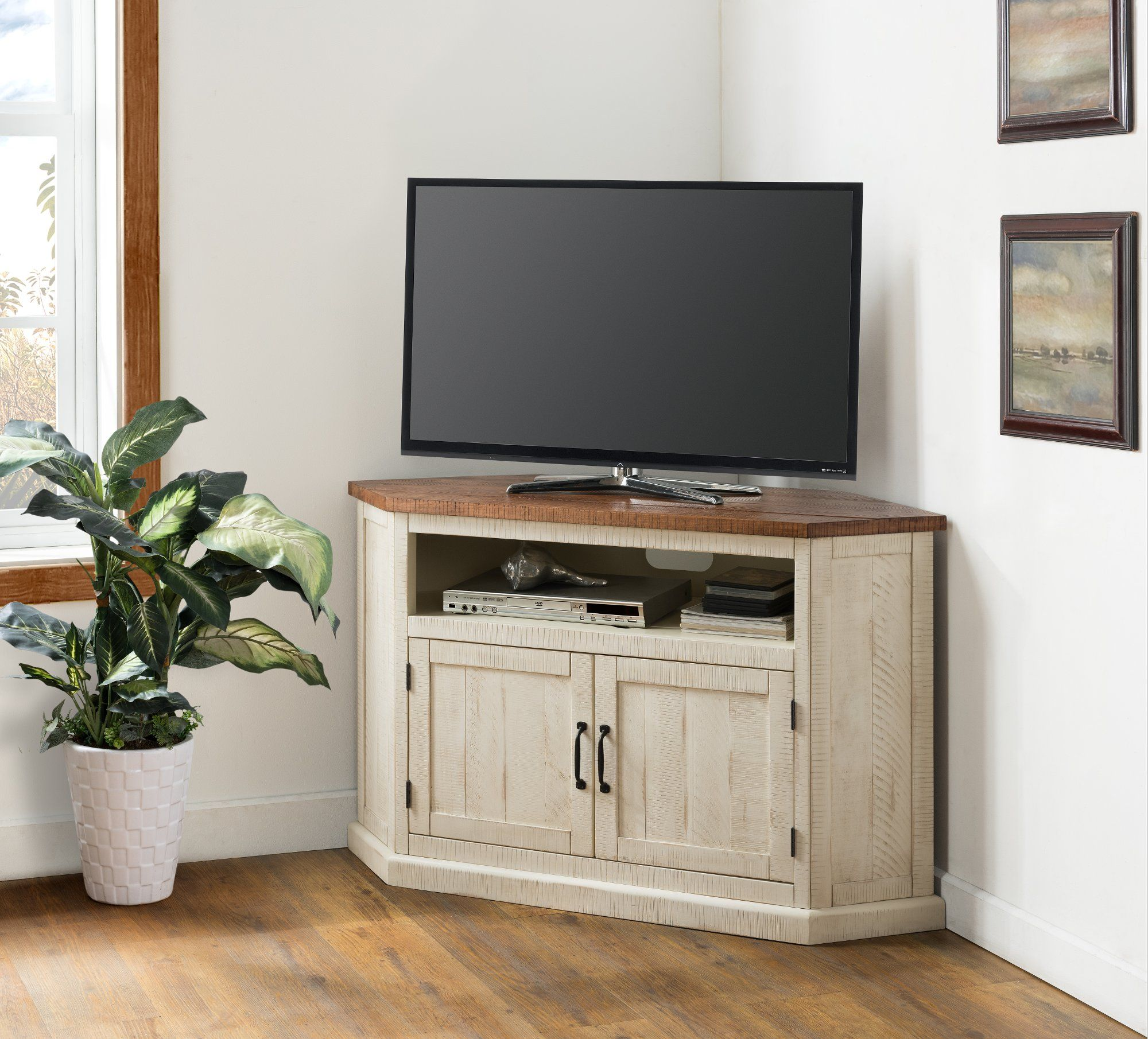 White Wash And Pine Corner Tv Stand Rustic In 2020 Wood Corner