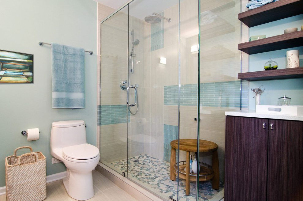 Beige And Blue Bathroom Ideas Contemporary With Gl Shower Tile Wall