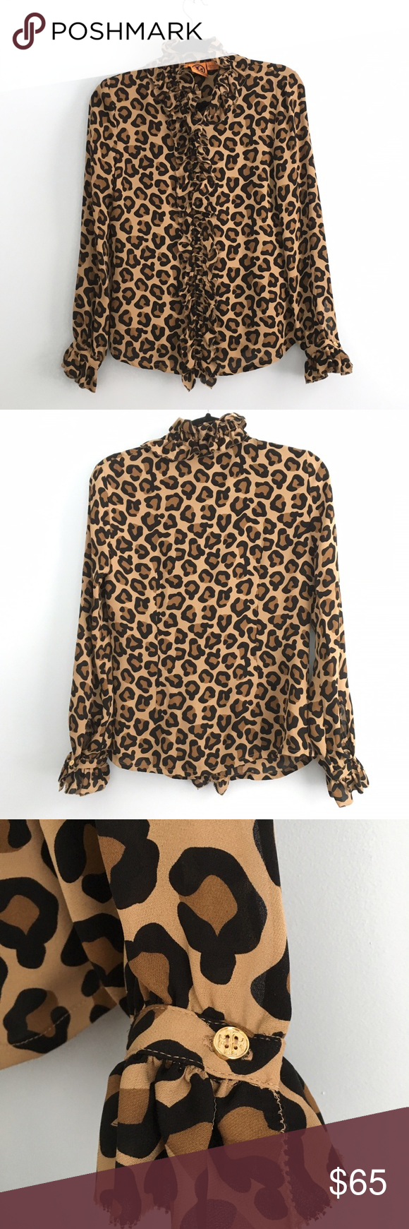 Tory Burch Print Blouse Designer, Tory Burch, leopard print silk blouse with gold Tory Burch logo buttons on the cuffs, collar and hidden beneath the center front ruffles in the middle. Never worn. Tory Burch Tops Button Down Shirts